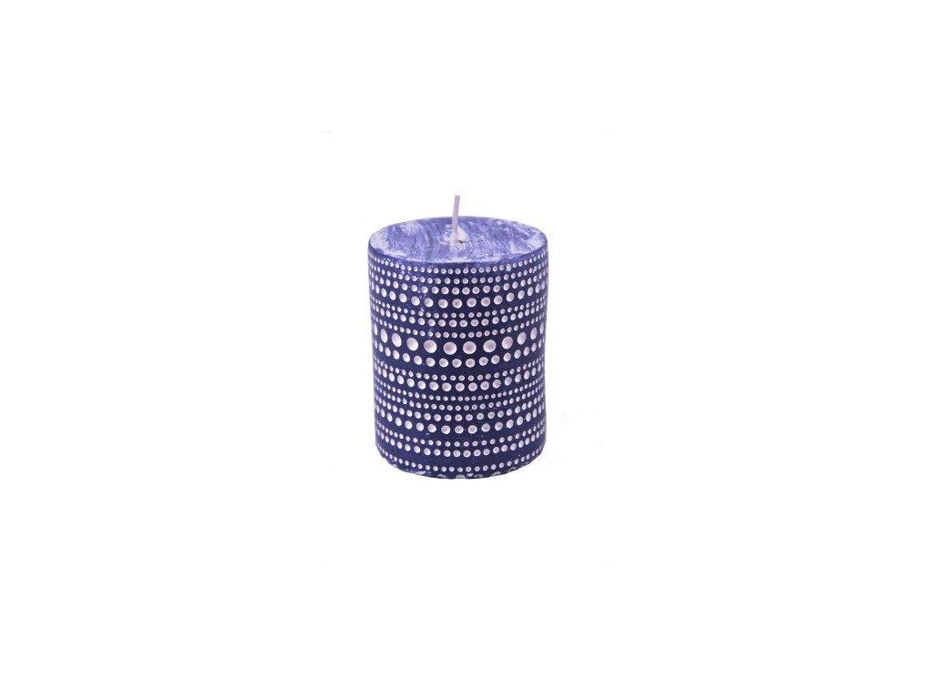 Svíčka | modrá s krajkovým vzorem | 6,5x7,5cm