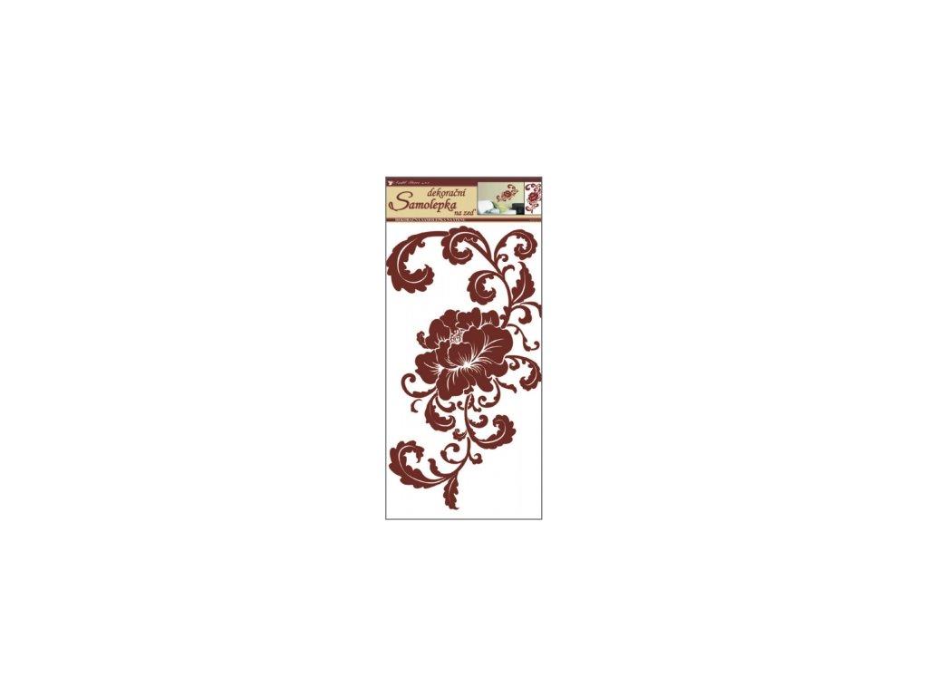 Samolepky na zeď hnědý květ s ornamenty, 69x32 cm
