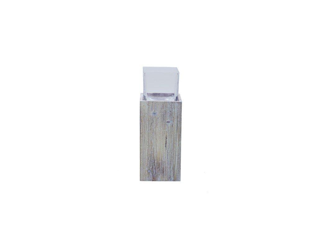 Svícen špalek se sklem 14x37x14cm