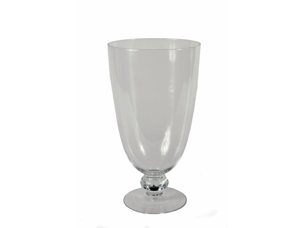 Váza skleněná na noze V 45x24cm