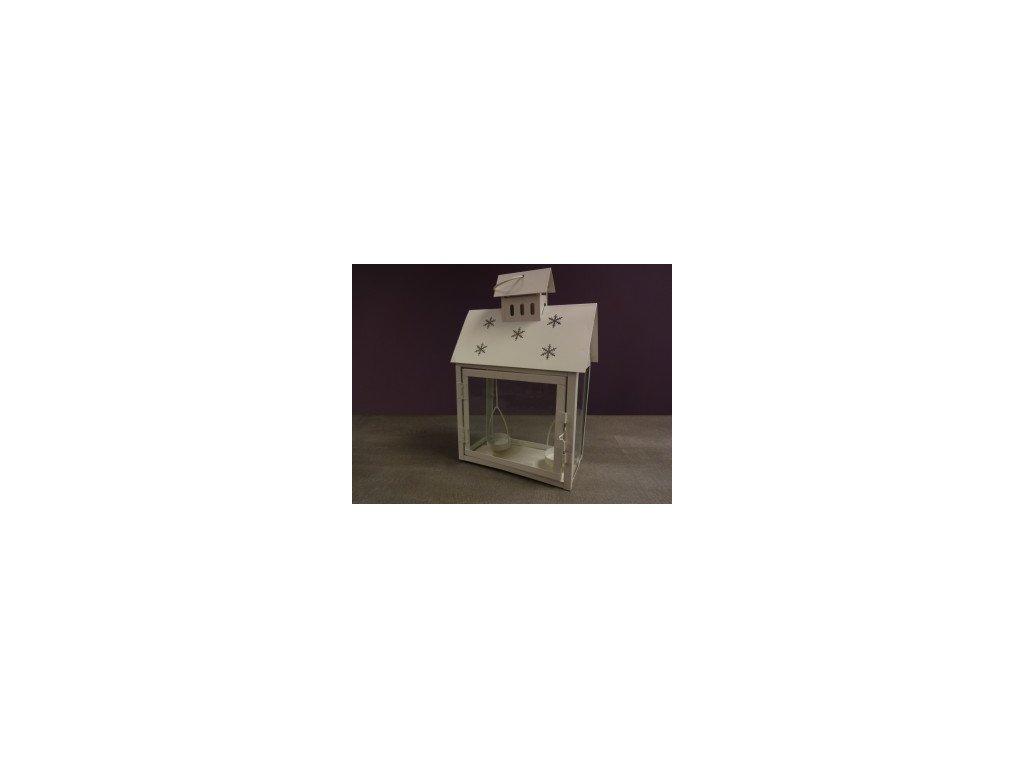 Lucerna bílá s vločkou 20x10x29,5cm