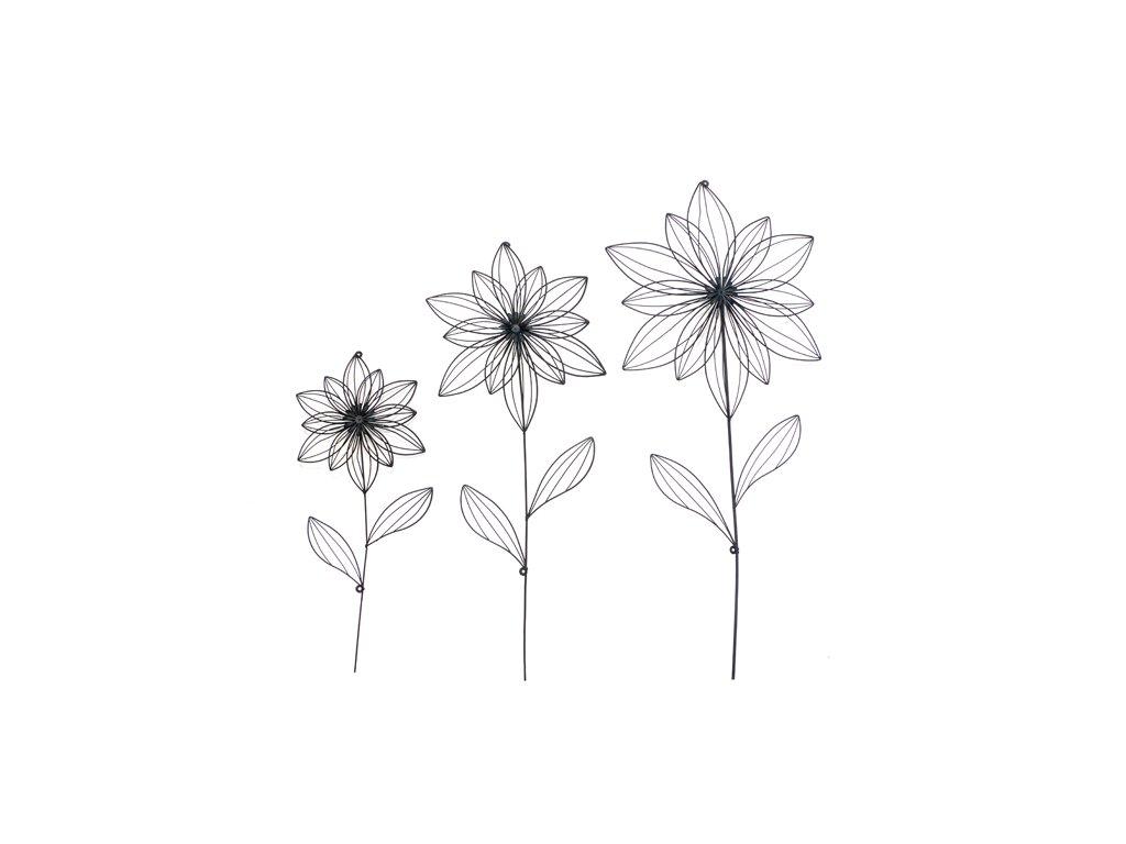 Nástěnná dekorace | květina | kov | černá | varianty