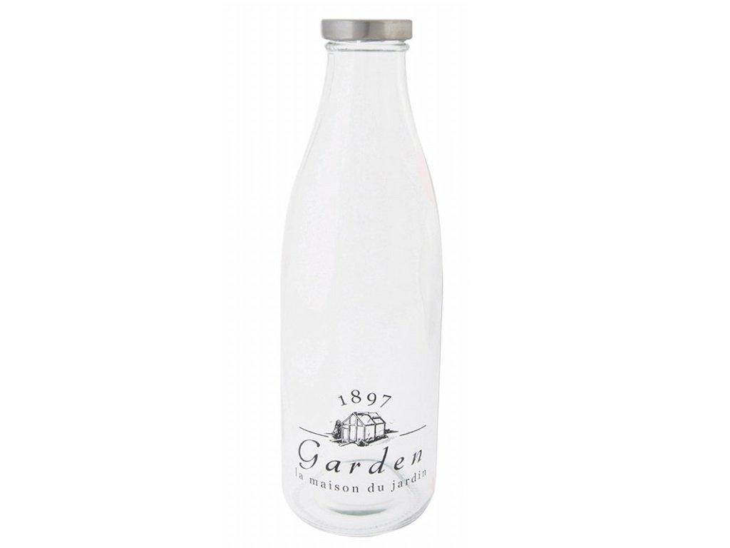 Skleněná lahev na mléko 9x9x27cm I