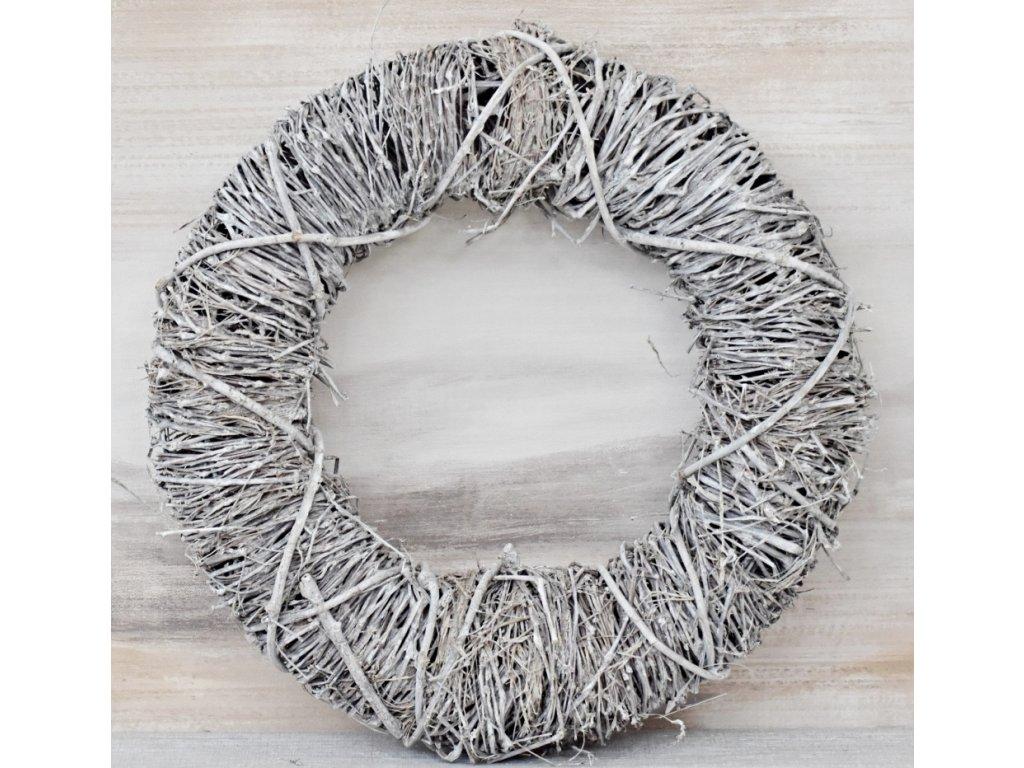 Proutěný věnec Twigs šedý 35 cm