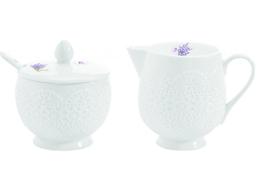 Porcelánová cukřenka a mléčenka Lavender