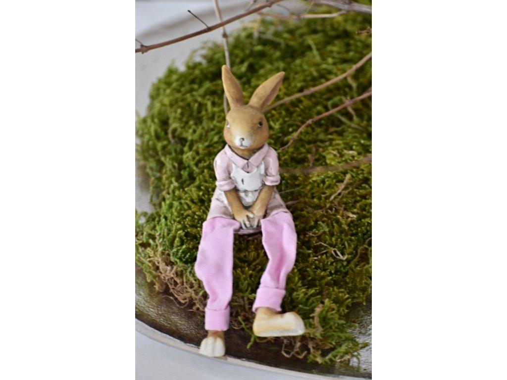 Dekorativní zajíc Nina sedící, 7,5 cm