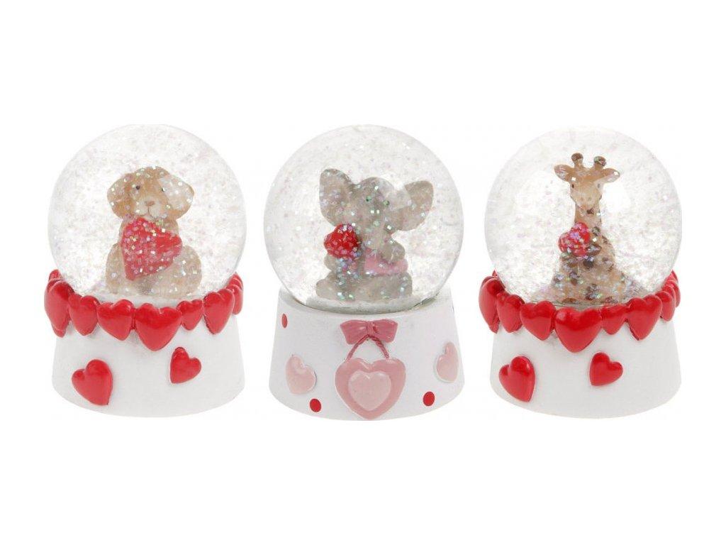 Sněžítko se zvířátkem a srdíčky, polyresinová dekorace, mix  pes, slon a žifara, cena za 1 kus