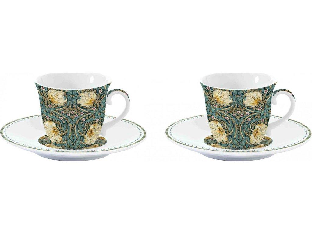 Porcelánové šálky a podšálky na espresso William Morris Black