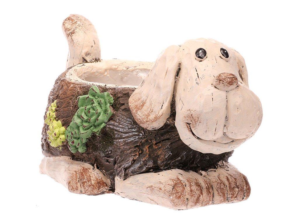 Pes,dekorace z MgO keramiky s otvorem na květináč