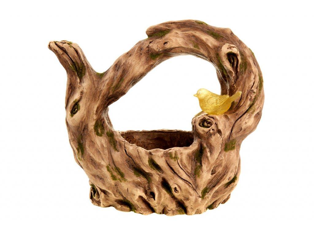 Kořen, MgO keramika s otvorem na květináč s ptáčkem s LED světlem  (baterie na solární dobíjení)