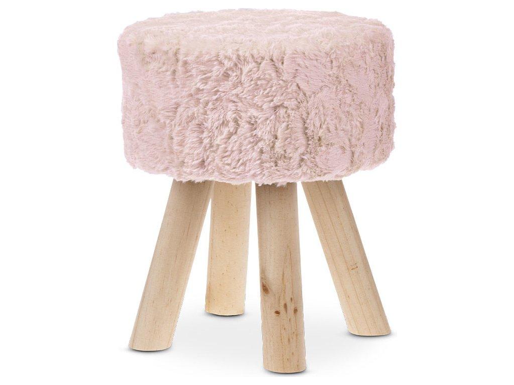 Taburet, potah starorůžová umělá kožešina ECRU, masivní nohy z kaučukovníku v přírodním odstínu