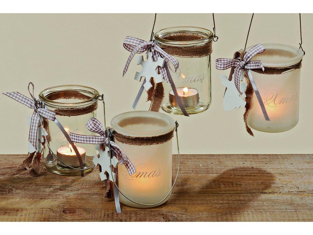 Vánoční skleněný svícen na čajovou svíčku VLOČKA
