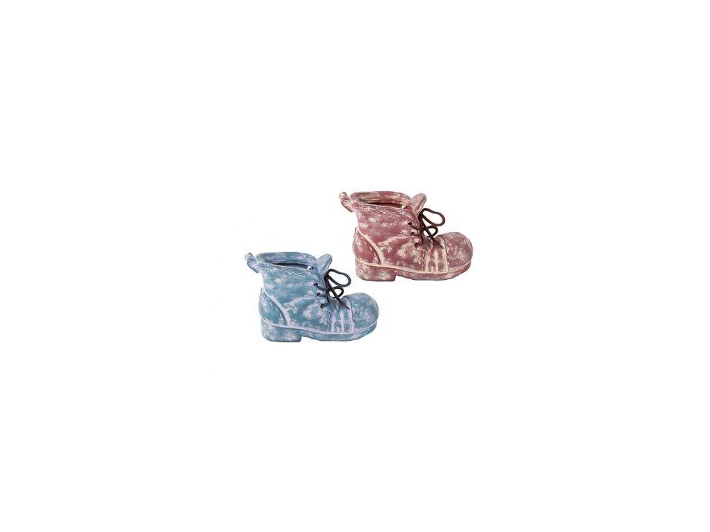 Obal na kytky bota keramika 18x14x11,5cm (Barva modrá)