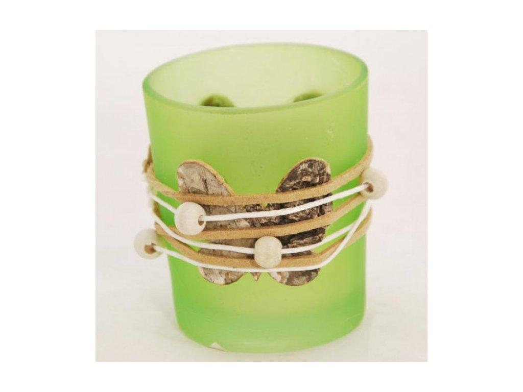 Skleněný svícen | na votivní svíčku | s motýlkem a korálky | 6x7cm