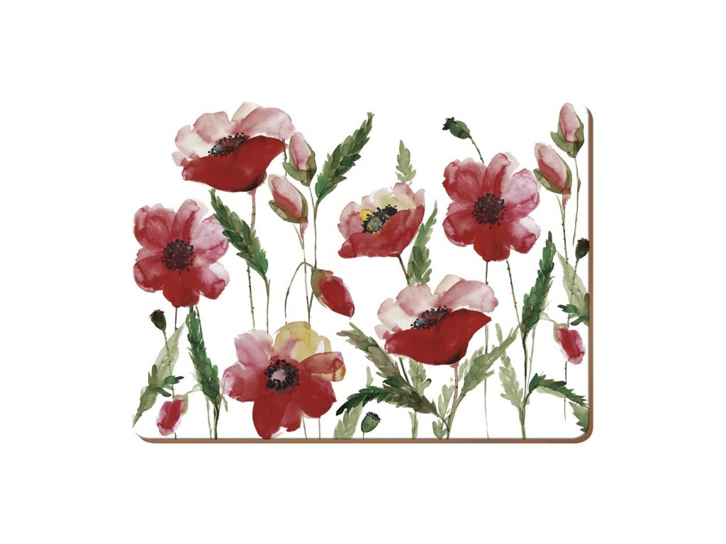 Korkové prostírání Watercolour Poppy