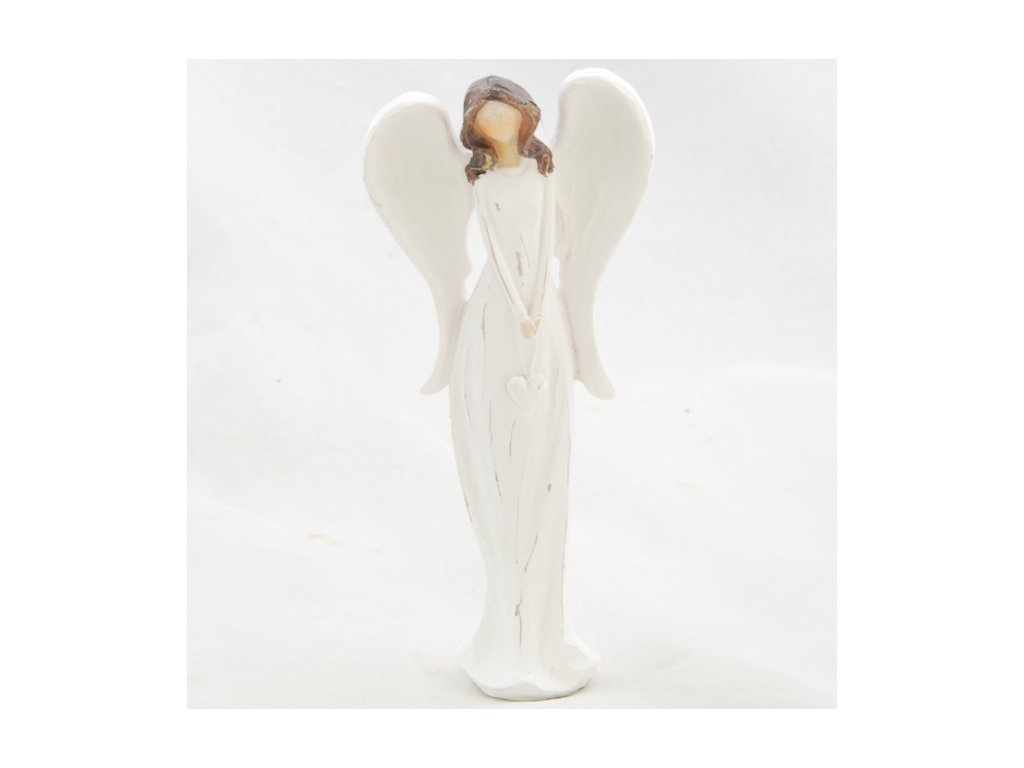 Figurka anděla v bílých šatech se srdíčkem 14,5x6,5cm