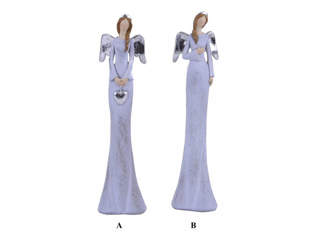 Anděl bílo-stříbrný 10x27x5cm
