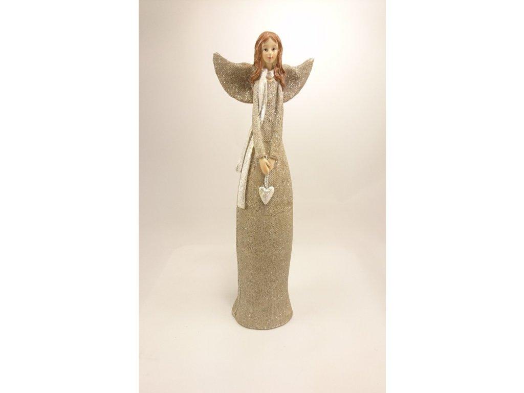 Anděl zlatý se srdcem 30cm