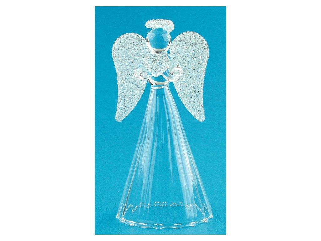 Anděl skleněný na postavení s bílými křídly 9 cm