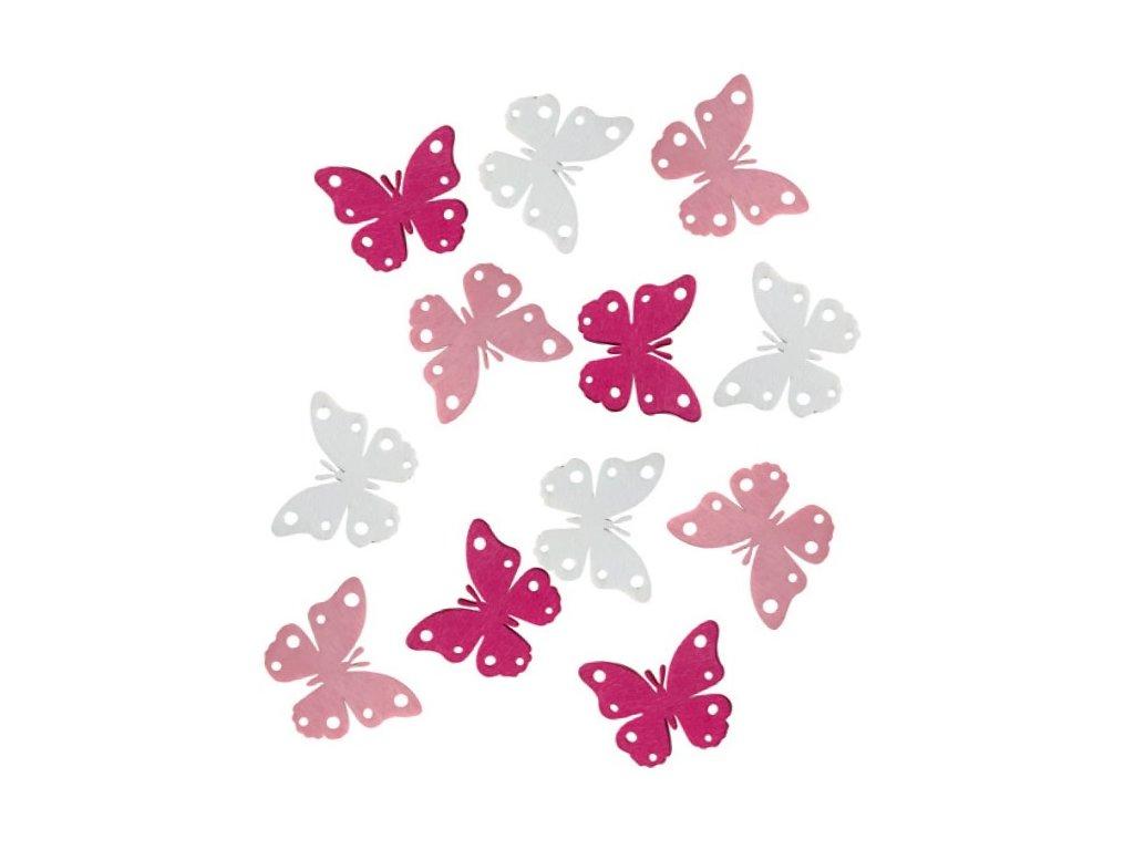 Dekorace dřevění motýli 4cm set 12ks
