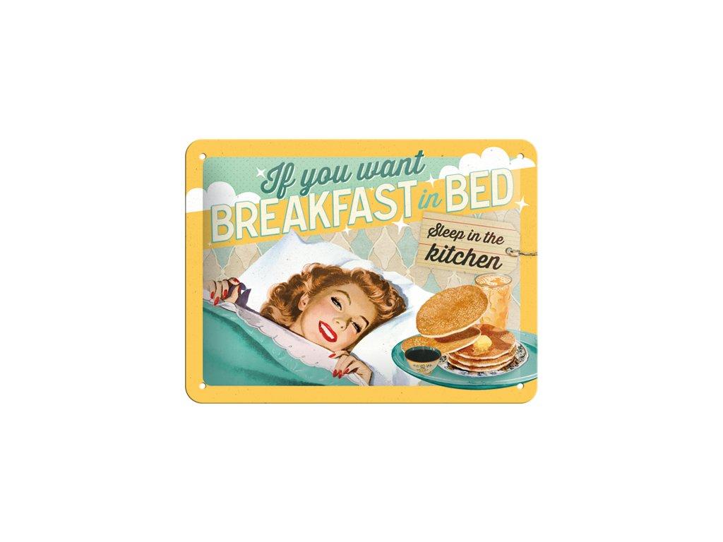 Plechová cedule Breakfast in Bed