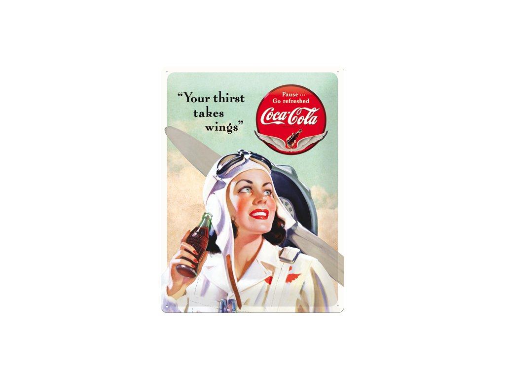 Plechová cedule Coca Cola Wings 30x40cm