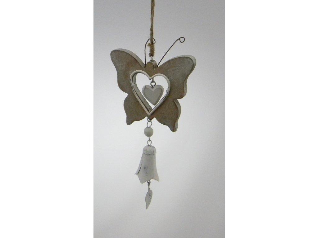 Dřevěný motýl s rolničkou šedý