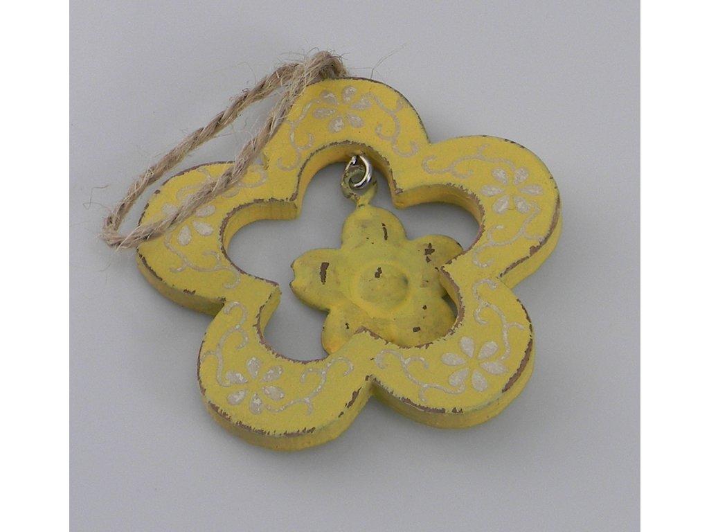 Závěs kytička ornament ŽLUTÁ