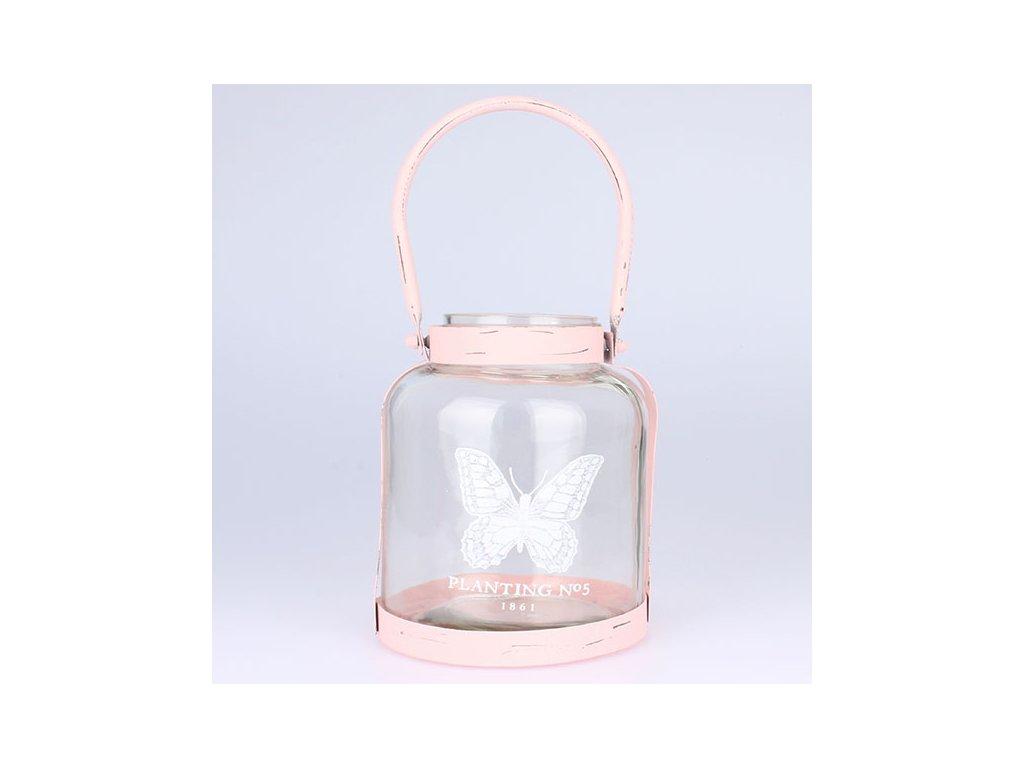 Skleněný svícen růžový 15x18cm