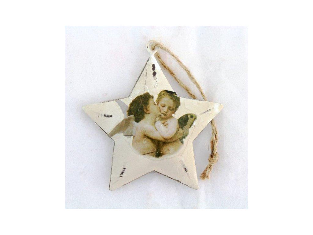 Vánoční ozdoba kovová hvězda s motivem anděla