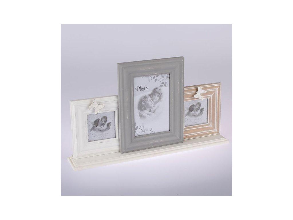 Dřevěný fotorám na 3 fotky 40x22cm