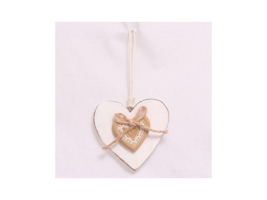 Závěsné dřevěné srdce bílé 14,5x8,5 cm