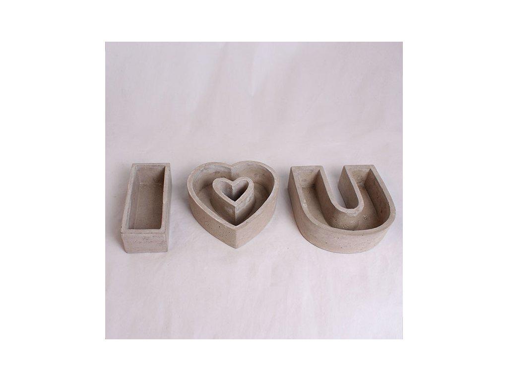 Květináč I love U 15 × 6,5 × 5/15 × 5 × 15/15 × 15 × 5 cm