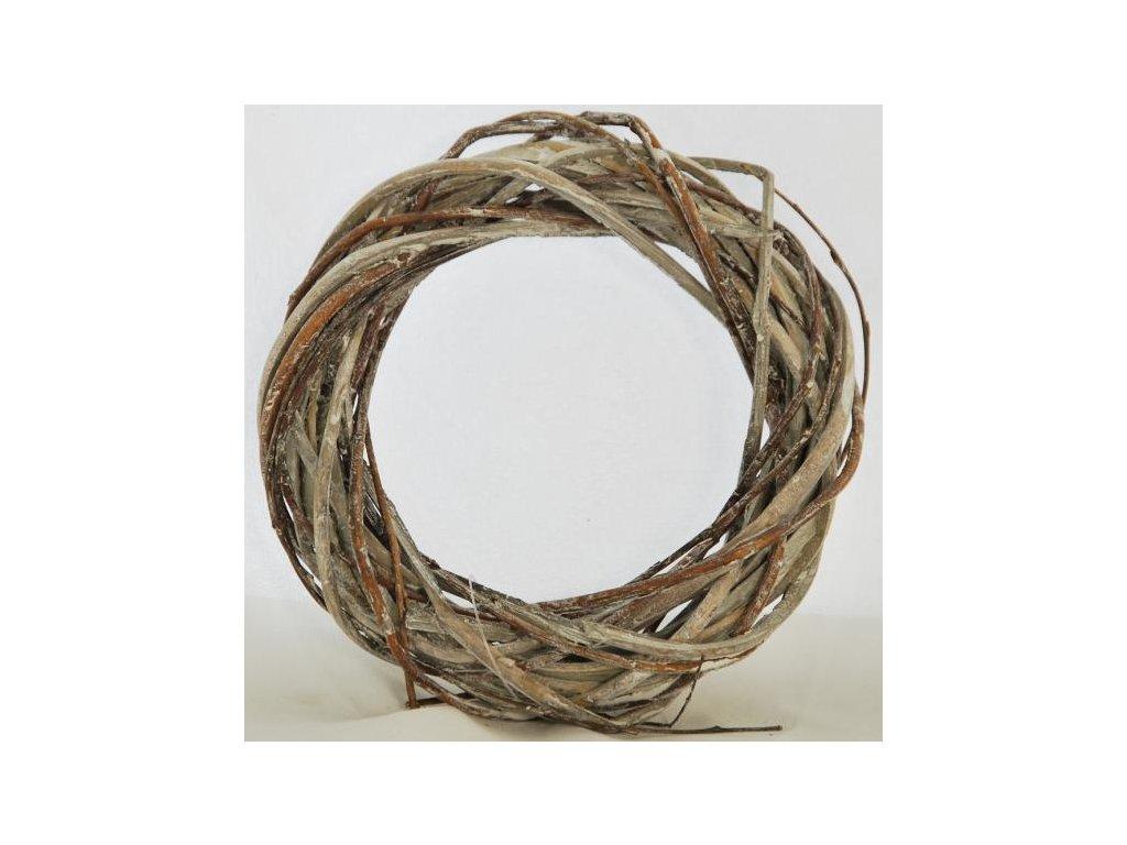Proutěný věnec | šedý s bílou patinou |15 cm