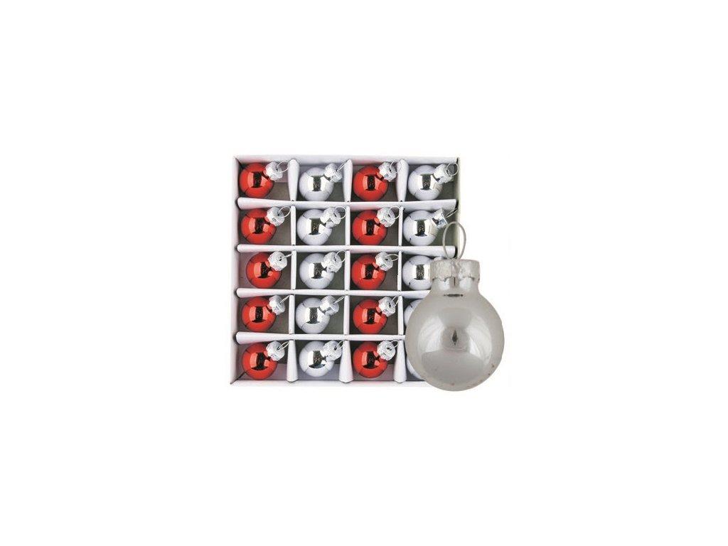Vánoční ozdoby červené a stříbrné 20ks 2cm