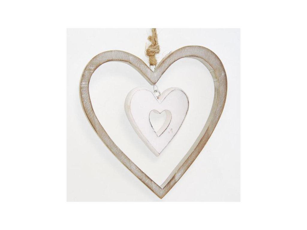 Dřevěné dekorační srdce s bílým srdíčkem 12x12x2 cm