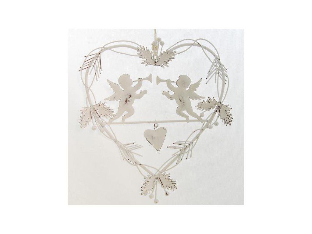 Bílé kovové dekorační srdce na zavěšení 18x19,5 cm