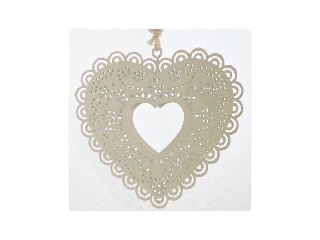 Kovové srdce na zavěšení 9,5x9x0,5 cm