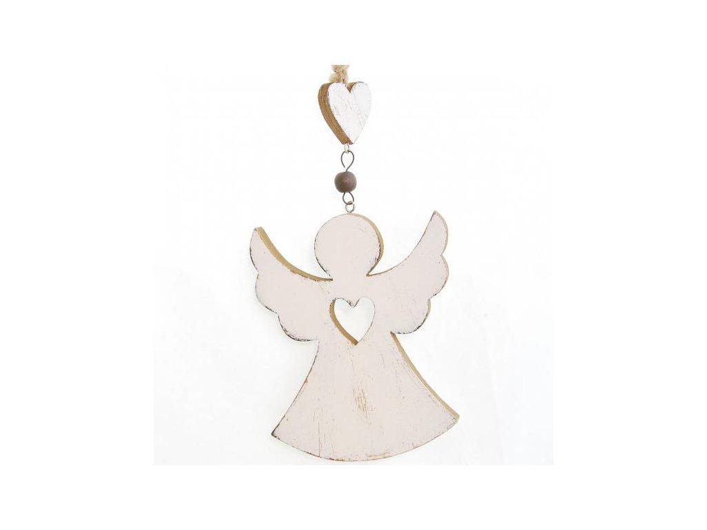 Dřevěný dekorační anděl
