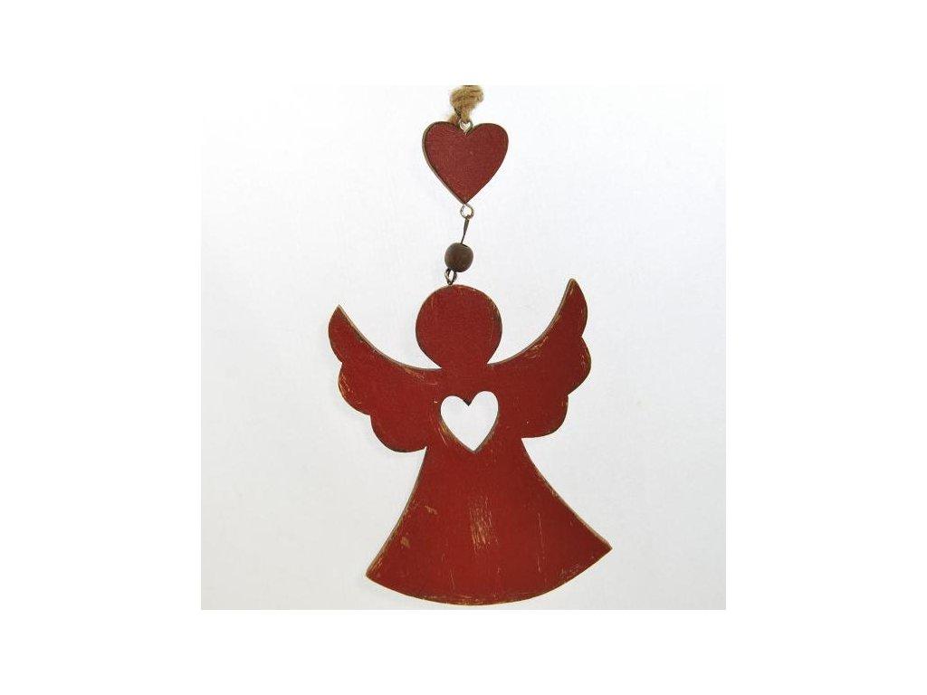 Dřevěný dekorační anděl červený 2