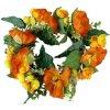 Věnec z vlčích máků umělých, barva oranžová