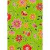 Papír dárkový balicí zelený s květinami 500x70cm