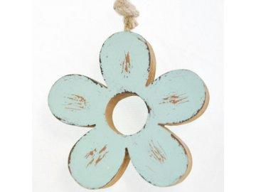 Dřevěná dekorační kytička tyrkysová