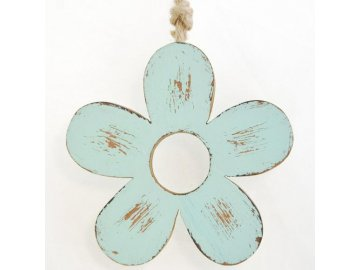 Dřevěná dekorační kytička tyrkysová II 11,5x11,5x2,5 cm