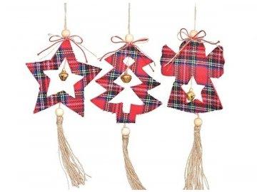 Závěsná vánoční dekorace-kostkovaná