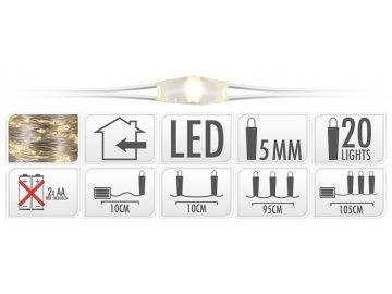 Vánoční osvětlení na drátku   20 LED
