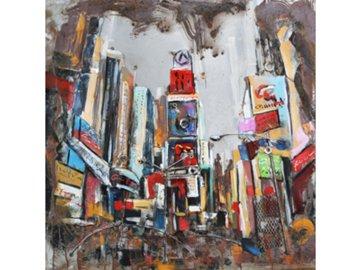 Obraz ručně malovaný | kovový | město