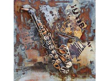Obraz ručně malovaný   kovový    saxofon