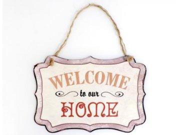 Plechová cedule Welcome home 19x25cm