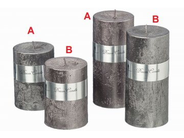 Svíčka šedá Metal (Velikost větší, Provedení B)